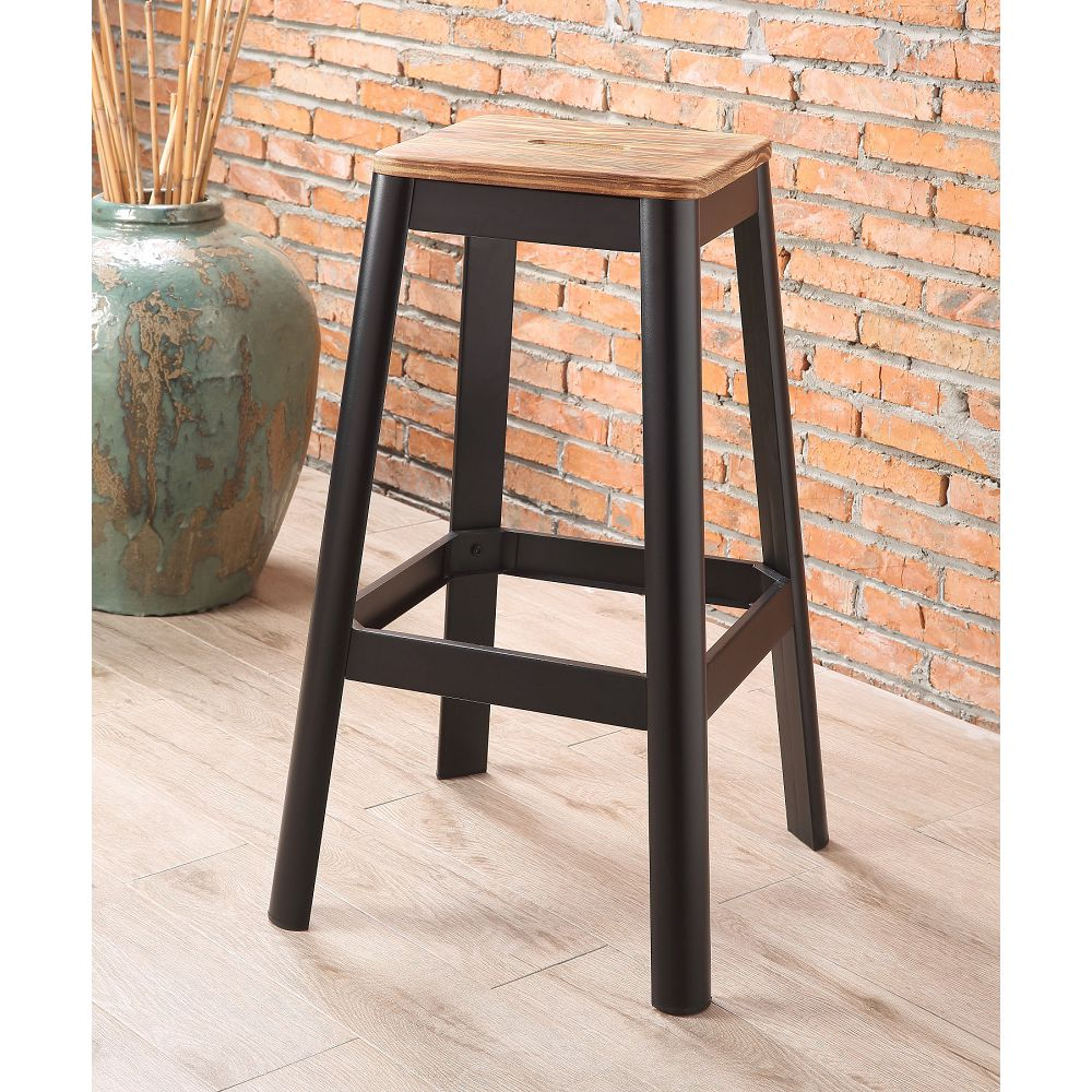 ACME Jacotte Wood Bar Stool with Metal Legs, for Restaurant, Cafe, Tavern, Office, Living Room - Black