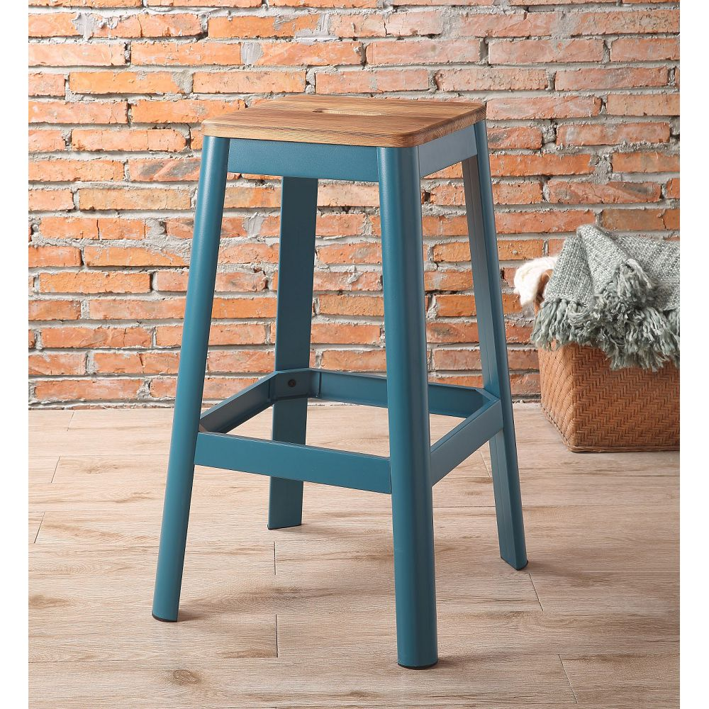 ACME Jacotte Wood Bar Stool with Metal Legs, for Restaurant, Cafe, Tavern, Office, Living Room - Teal