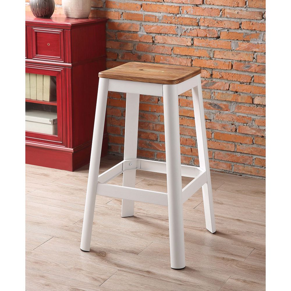 ACME Jacotte Wood Bar Stool with Metal Legs, for Restaurant, Cafe, Tavern, Office, Living Room - White