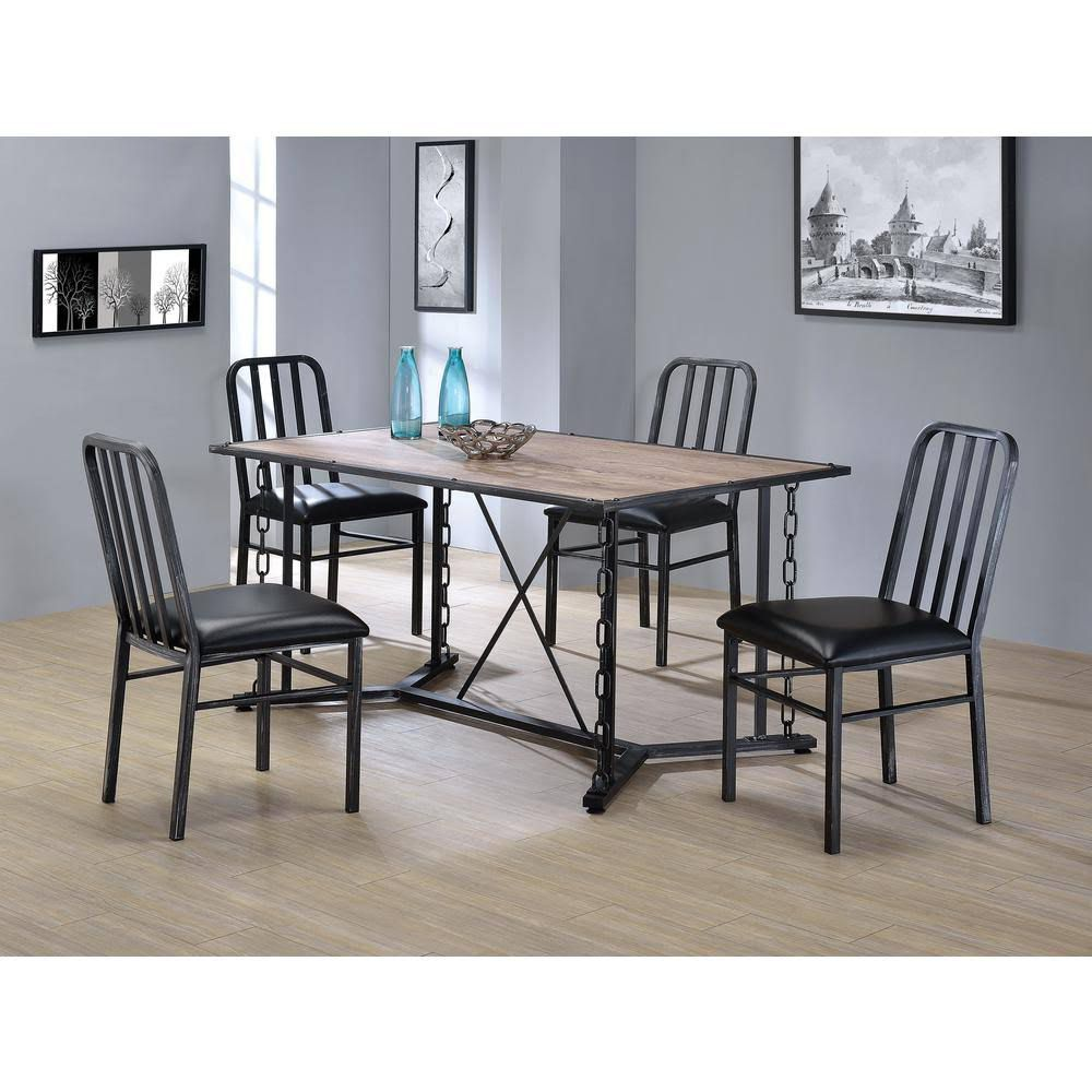 ACME Jodie PU Upholstered Dining Chair Set of 2, with Slatted Backrest, and Metal Legs, for Restaurant, Cafe, Tavern, Office, Living Room - Black