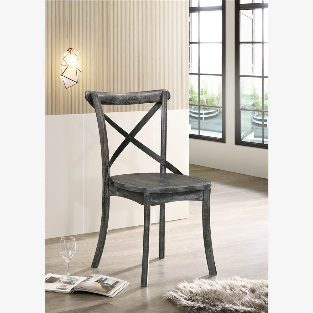 ACME Kendric Dining Chair Set of 2, with X-shaped Backrest, and Wood Legs, for Restaurant, Cafe, Tavern, Office, Living Room - Gray
