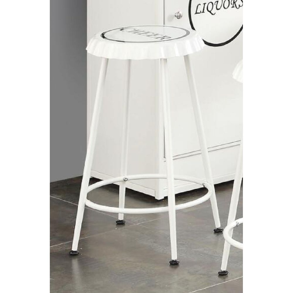 ACME Mant Counter Height Stool Set of 2, with Metal Frame, for Restaurant, Cafe, Tavern, Office, Living Room - White
