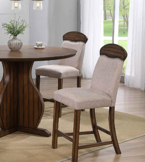 ACME Maurice Linen Upholstered Counter Height Dining Chair Set of 2, with High Backrest, and Wood Legs, for Restaurant, Cafe, Tavern, Office, Living Room - Oak