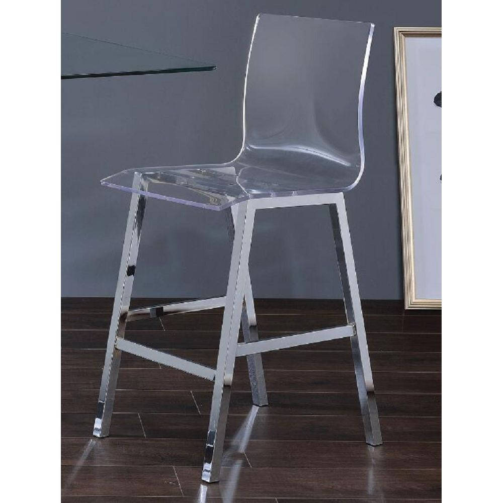ACME Nadie Counter Height Dining Chair Set of 2, with Curved Backrest, and Metal Legs, for Restaurant, Cafe, Tavern, Office, Living Room - Transparent