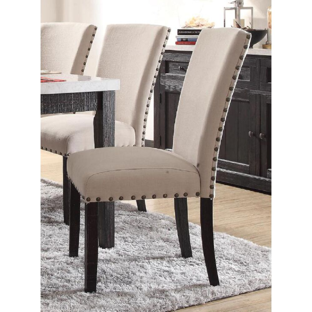 ACME Nolan Linen Upholstered Dining Chair Set of 2, with Curved Backrest, and Wood Legs, for Restaurant, Cafe, Tavern, Office, Living Room - Oak