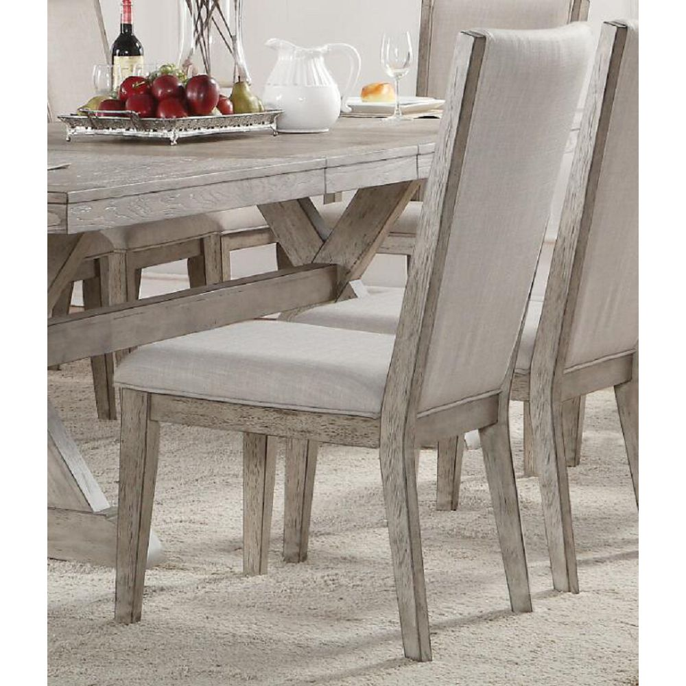 ACME Rocky Fabric Upholstered Dining Chair Set of 2, with High Backrest, and Wood Legs, for Restaurant, Cafe, Tavern, Office, Living Room - Gray