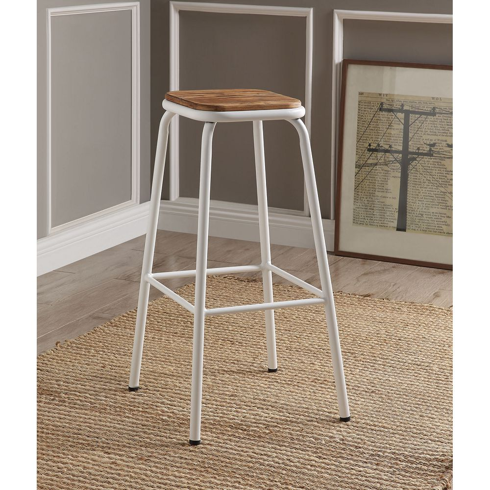 ACME Scarus Bar Stool Set of 2, with Metal Frame, for Restaurant, Cafe, Tavern, Office, Living Room - White
