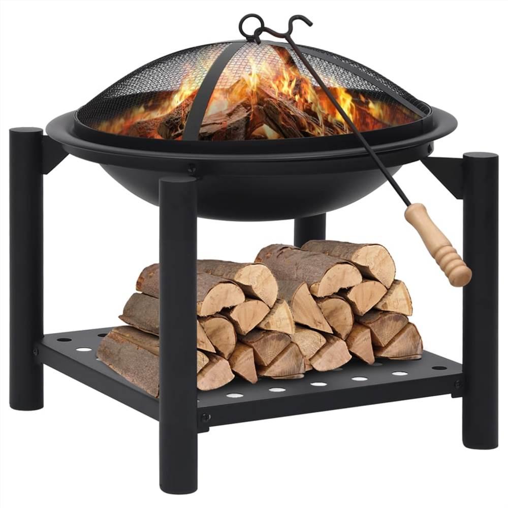 Fire Pit with Poker 54x54x55 cm Steel