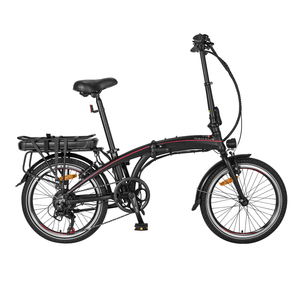 NAKXUS 20F039 20 Inch Folding Electric Bike 250W Motor 25km/h Shimano 7-Speed Gears 36V 10Ah Battery 50-55km Max range LED Headlamp IP54 Waterproof  - Black