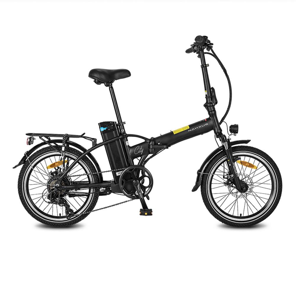 NAKXUS 20F057 20*1.95 Inch Folding Electric Bike 250W Motor 25km/h Shimano 7-Speed Gears 36V 10Ah Battery 50-55km Max range LED Headlamp Disc brake IP54 Waterproof  - Black