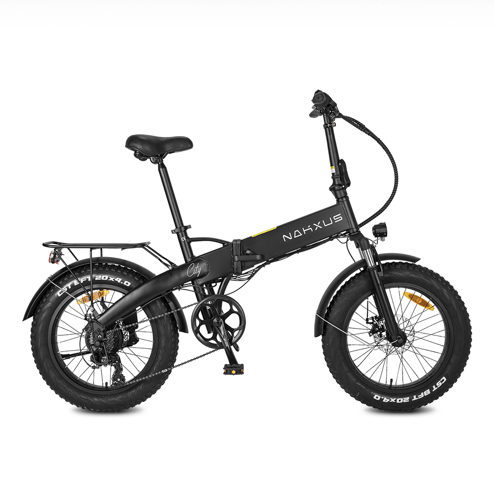 NAKXUS 20F063 20*4.0 Inch Fat Tire Folding Electric Bike 350W Motor 25km/h Shimano 7-Speed Gears 48V 10Ah Battery 50-55km Max range LED Headlamp Disc brake IP54 Waterproof  - Black