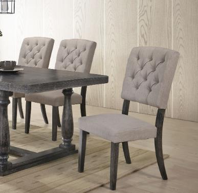 ACME Bernard Fabric Upholstered Dining Chair Set of 2, with Button Tufted Backrest, and Wood Legs, for Restaurant, Cafe, Tavern, Office, Living Room - Gray