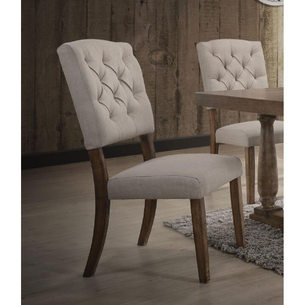 ACME Bernard Linen Upholstered Dining Chair Set of 2, with Button Tufted Backrest, and Wood Legs, for Restaurant, Cafe, Tavern, Office, Living Room - Cream