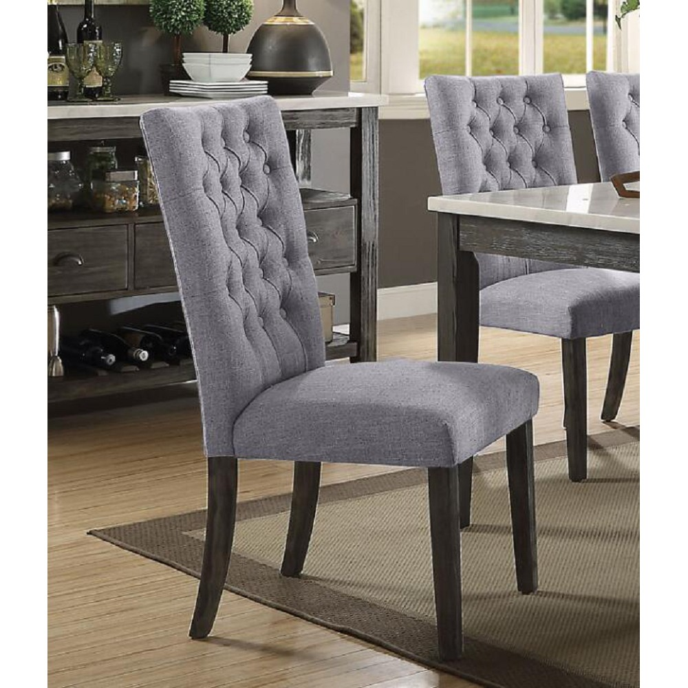ACME Merel Fabric Upholstered Dining Chair Set of 2, with Button Tufted Backrest, and Wood Legs, for Restaurant, Cafe, Tavern, Office, Living Room - Gray