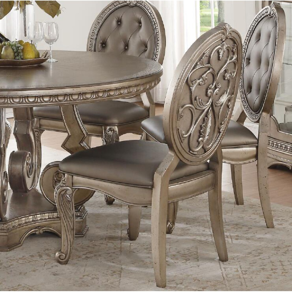 ACME Northville PU Upholstered Dining Chair Set of 2, with Button Tufted Backrest, and Wood Legs, for Restaurant, Cafe, Tavern, Office, Living Room - Silver
