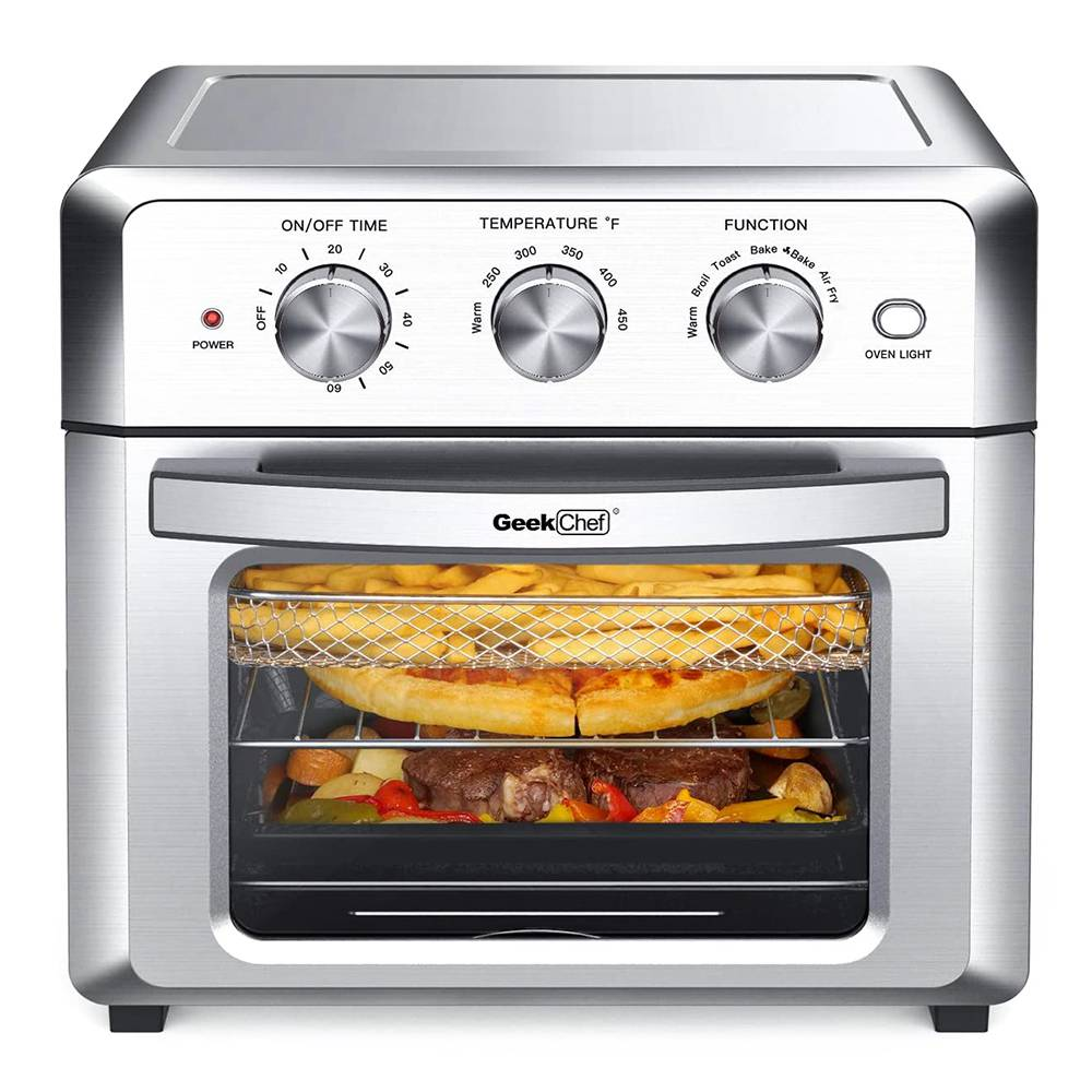 GEEK GTO18 Air Oven 19QT Capacity 1500W Power Easy to Clean for Heating, Grilling, Frying, Baking - Silver