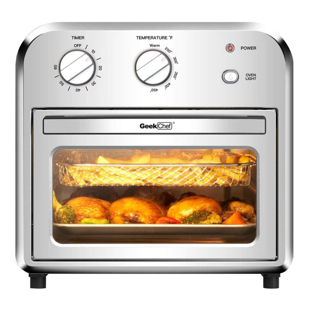 GEEK GTO10 Air Oven 10.5 QT/10L Capacity 1500W Power Easy to Clean for Heating, Grilling, Frying, Baking - Silver