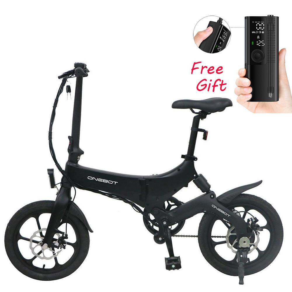 Przenośny składany rower elektryczny ONEBOT S6 16-calowy silnik 250 W Maks. 25 km / h Bateria 6.4 Ah - czarna