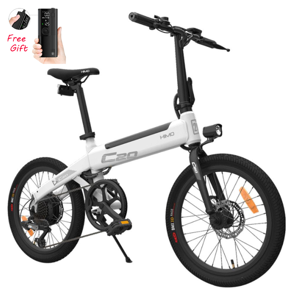 Xiaomi HIMO C20 Elektromoped Fahrrad 250W Motor Max 25km/h 10Ah Batterie Versteckte Inflatorpumpe Variabler Geschwindigkeitsantrieb - Weiß