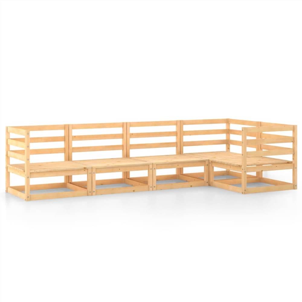 5 Piece Garden Lounge Set Solid Pinewood