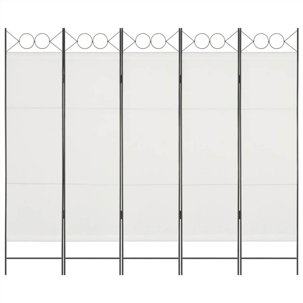 5-панельная перегородка белая 200x180 см