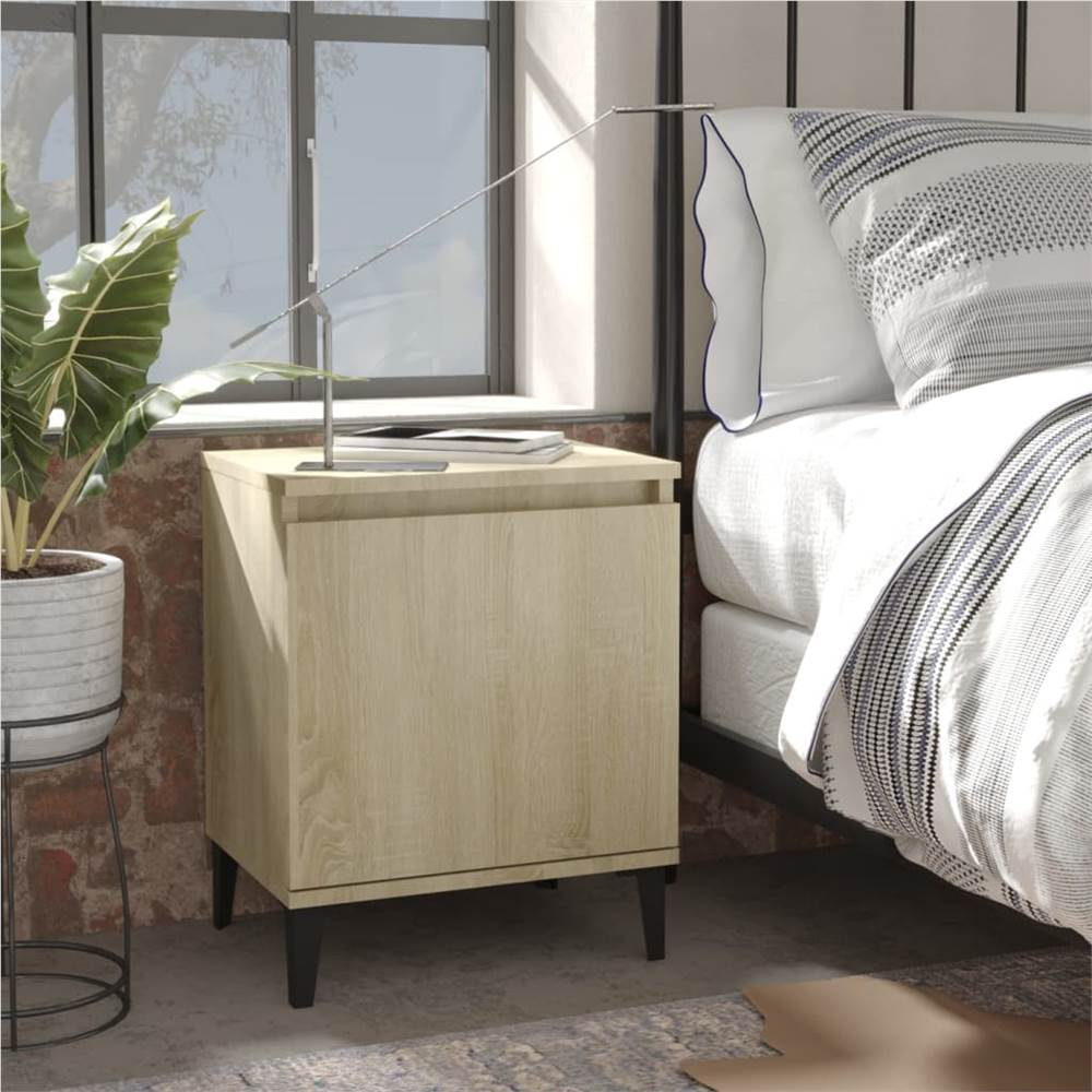 Bed Cabinet with Metal Legs Sonoma Oak 40x30x50 cm