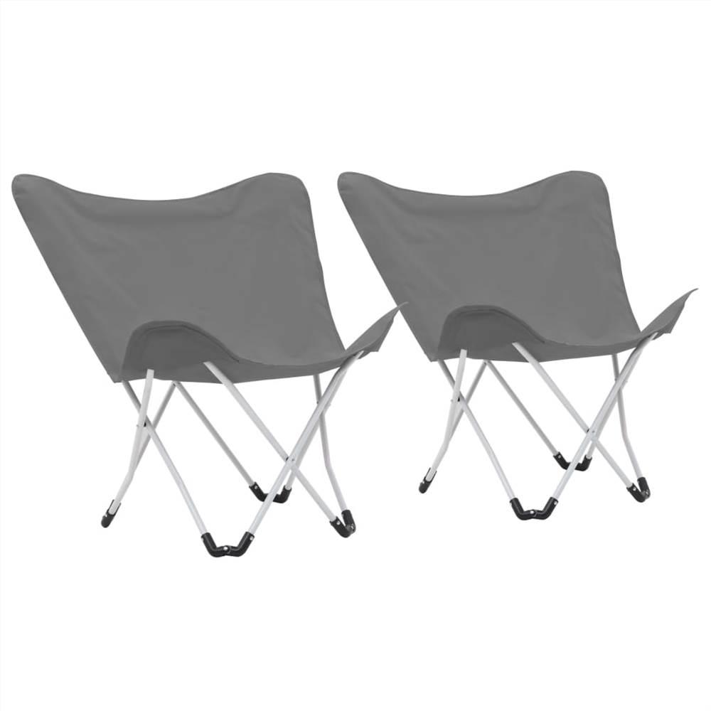 كرسي تخييم على شكل فراشة عدد 2 قابل للطي رمادي