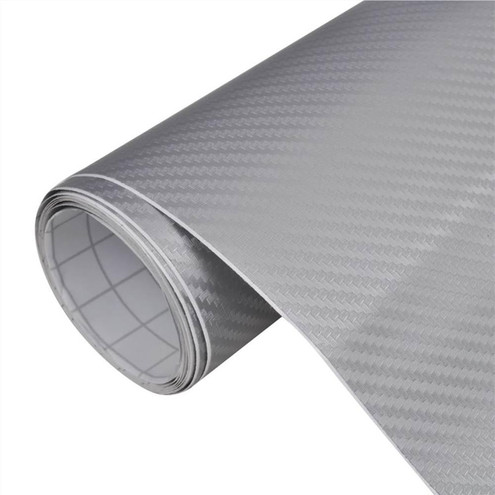Углеродная виниловая автомобильная пленка 3D Silver 152 x 200 см