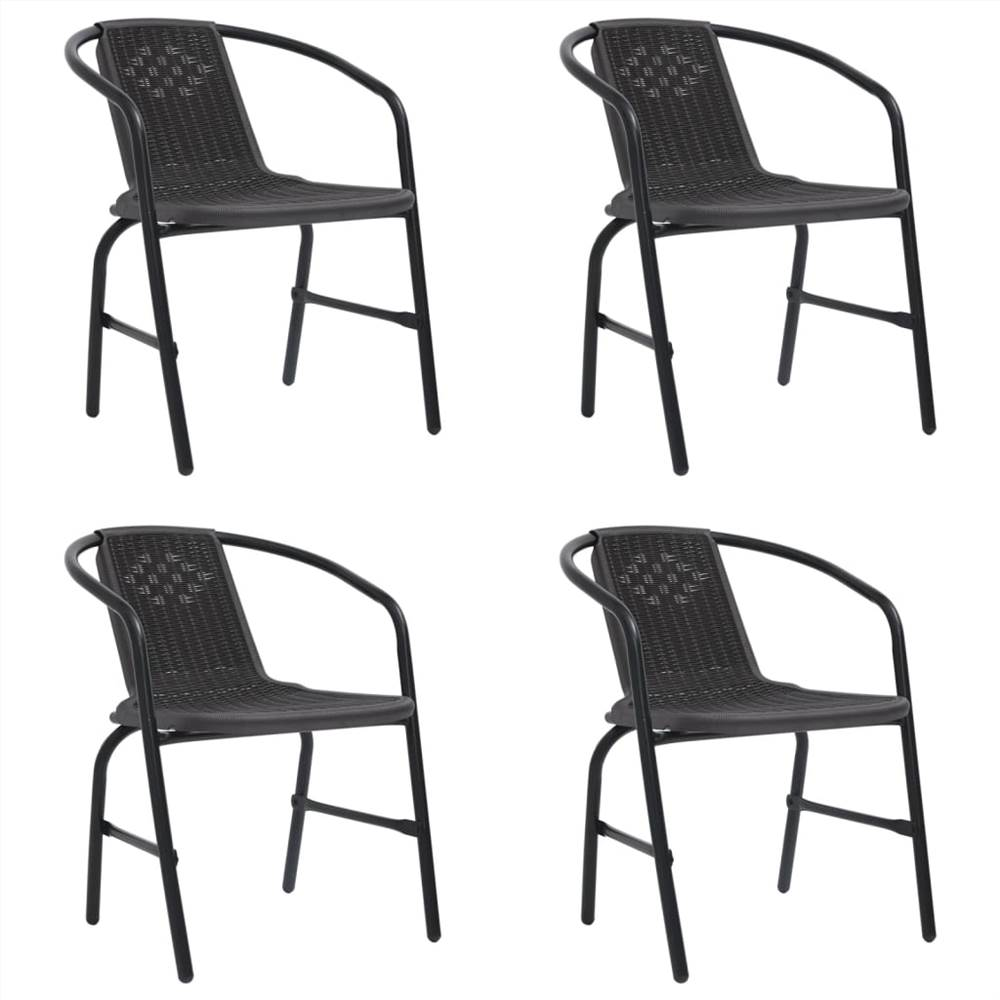 Garden Chairs 4 pcs Plastic Rattan and Steel 110 kg