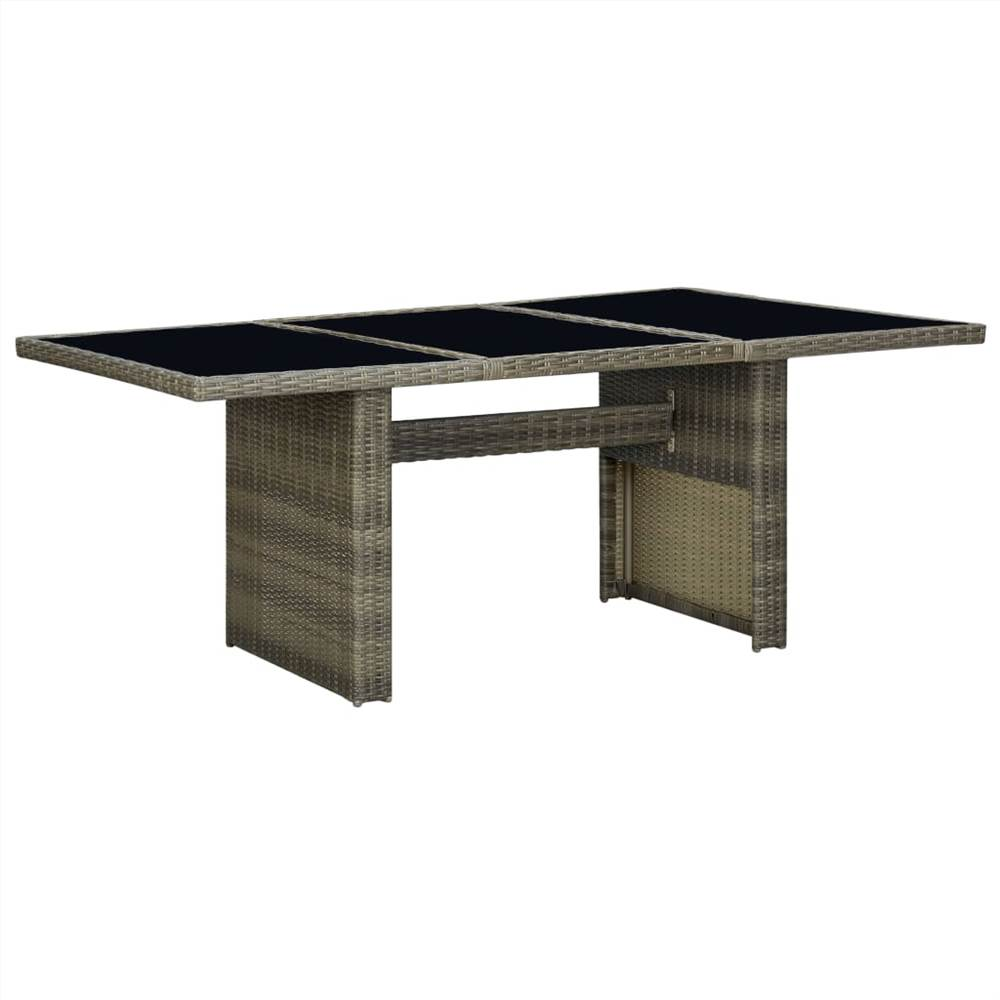 Garden Table Brown Poly Rattan and Tempered Glass