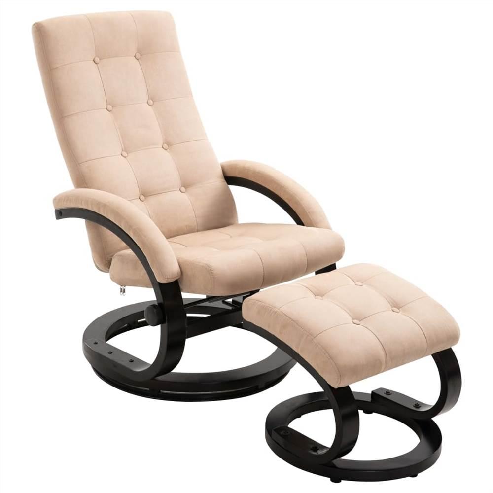 Кресло с реклайнером и подставкой для ног кремовая замшевая ткань