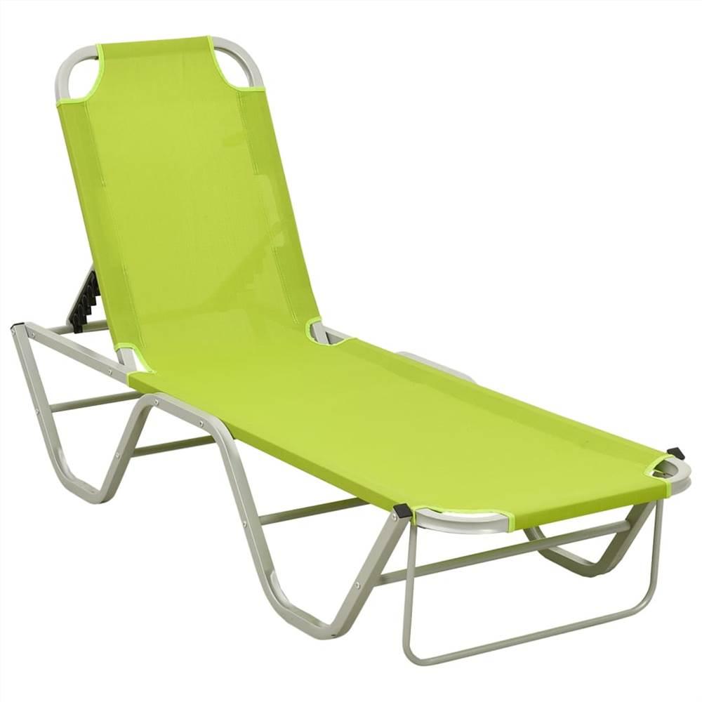 Sun Lounger Aluminium and Textilene Green