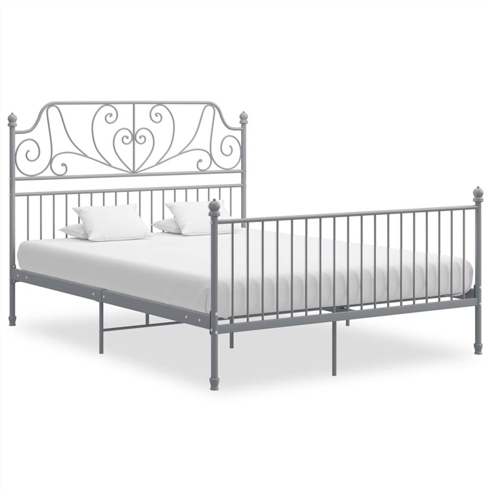 Bed Frame Grey Metal and Plywood 140x200 cm