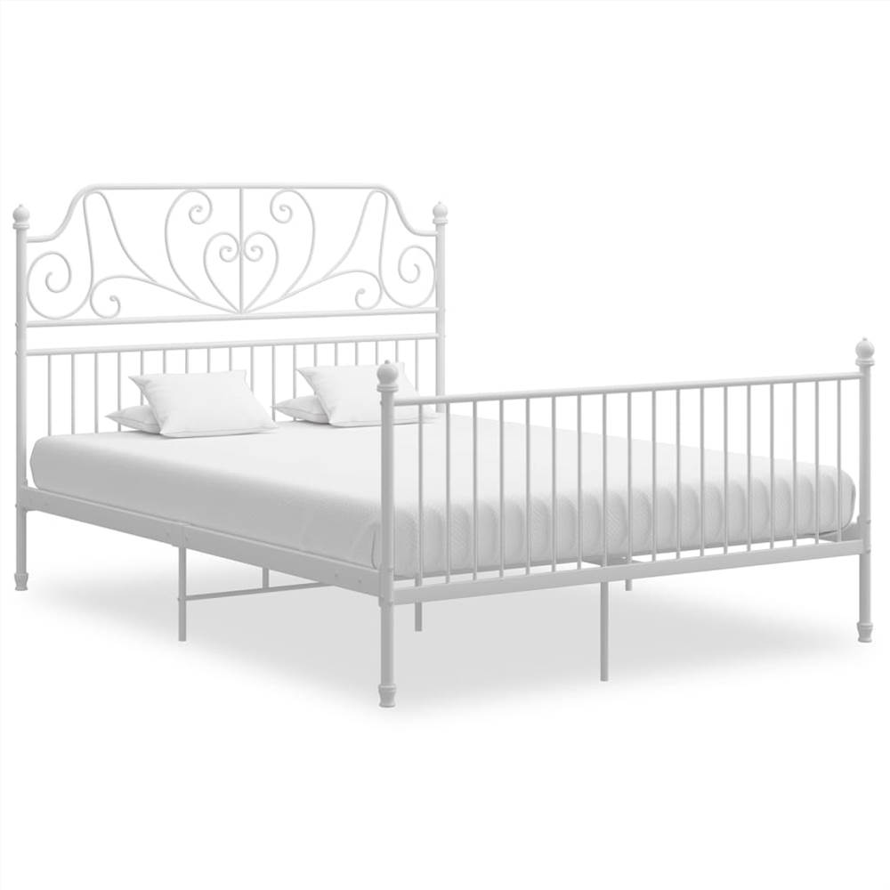 Bed Frame White Metal and Plywood 140x200 cm