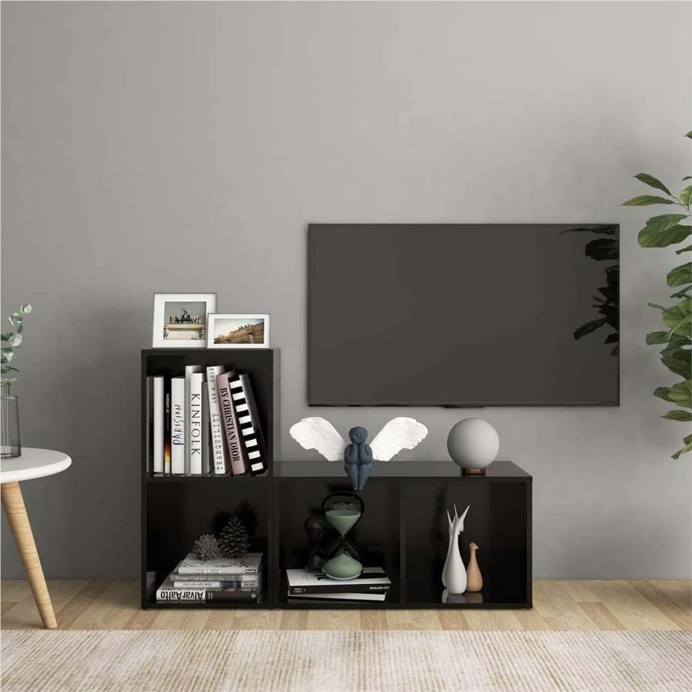 TV Cabinets 2 pcs Black 72x35x36.5 cm Chipboard