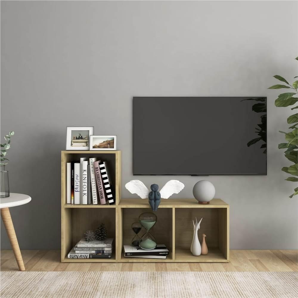 TV Cabinets 2 pcs Sonoma Oak 72x35x36.5 cm Chipboard