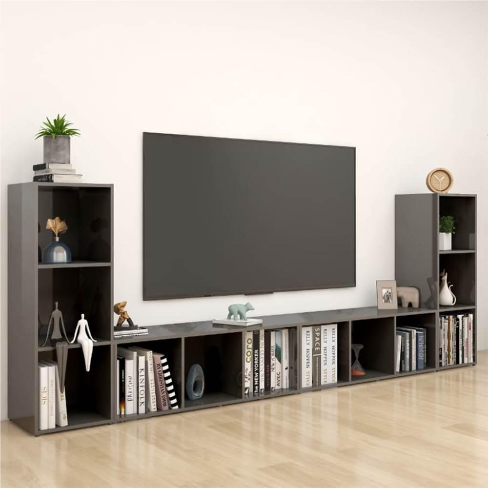 TV Cabinets 4 pcs High Gloss Grey 107x35x37 cm Chipboard