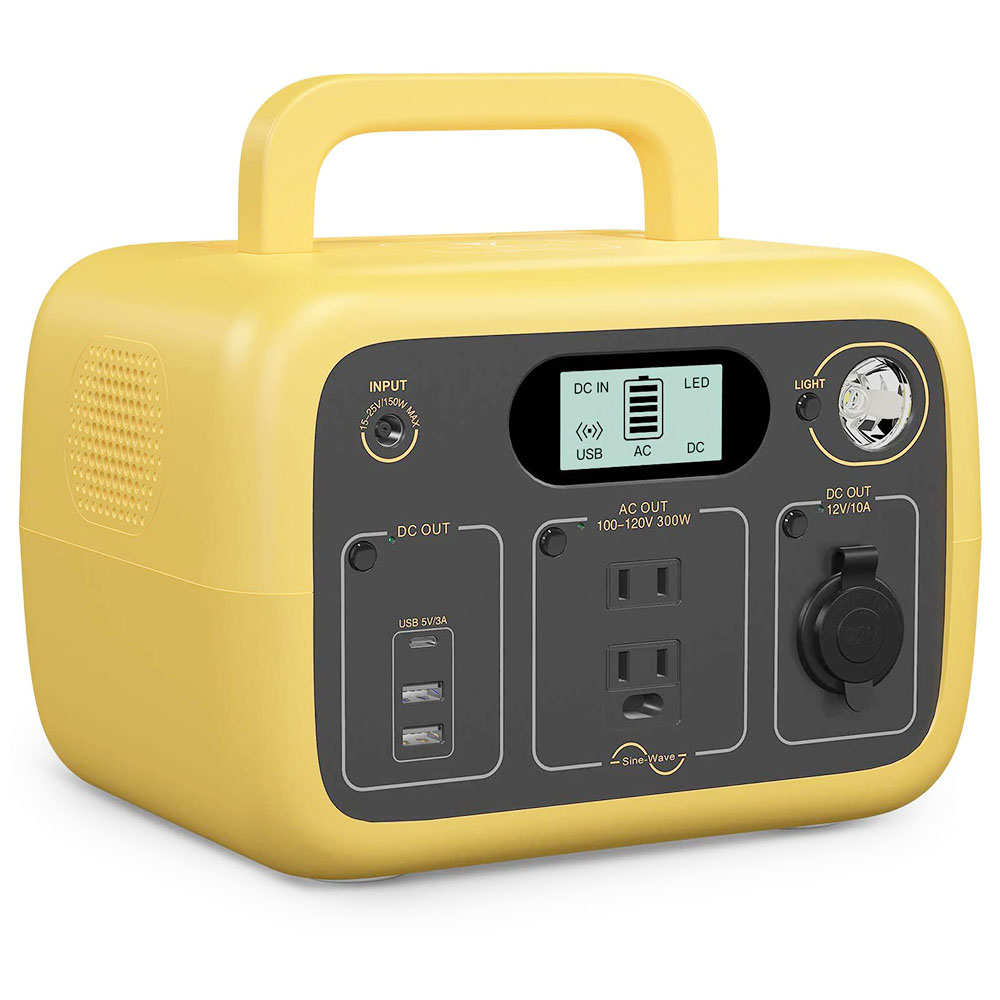 BLUETTI Portable Power Station AC30 300Wh Solar Generator w/2 AC Outlet 110V 300W Pure Sine Wave DC 12V /USB/Type-C Yellow