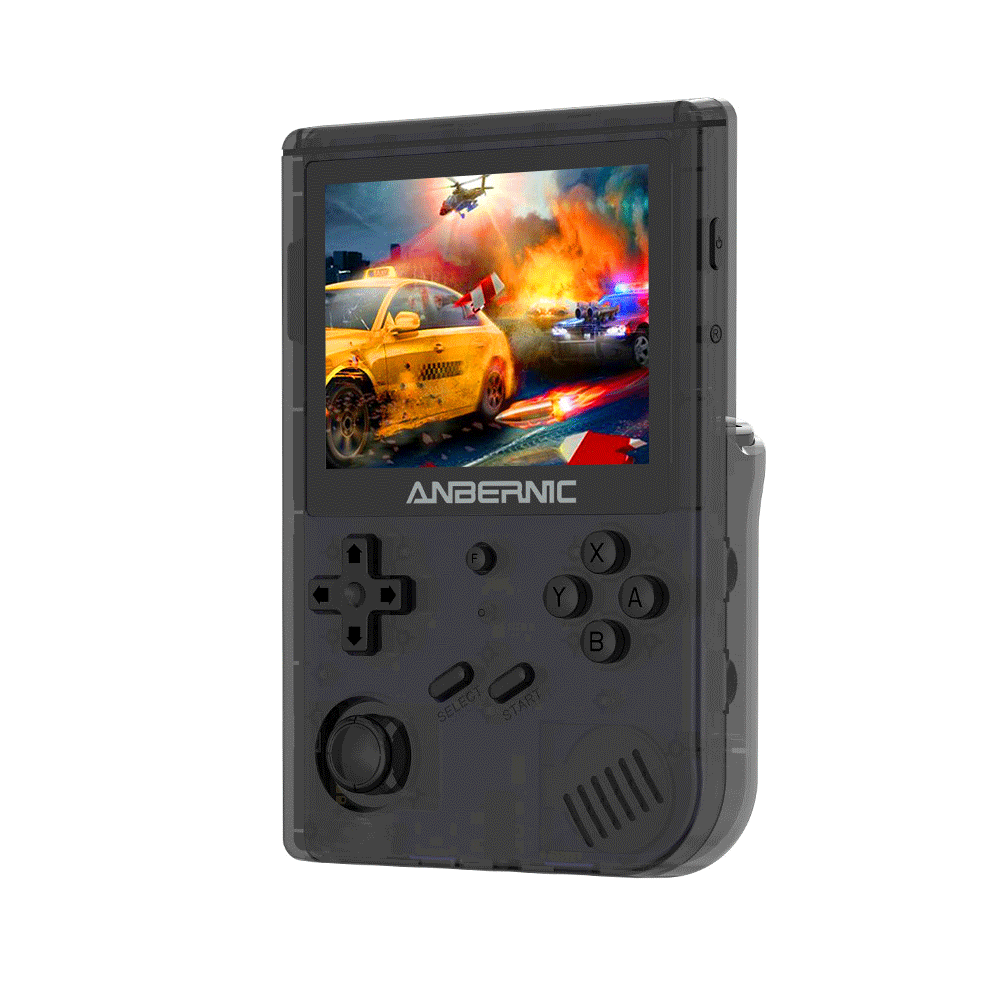 Anbernic RG351V 64GB Handheld Game Console, 3.5 Inch 640*480P IPS Screen, 12000 Games, Dual TF Card Slot, Supports NDS, N64, DC, PSP, PS1, openbor, CPS1, CPS2, FBA, NEOGEO, NEOGEOPOCKET, GBA, GBC, GB, SFC, FC, MD, SMS, MSX, PCE, WSC - Black