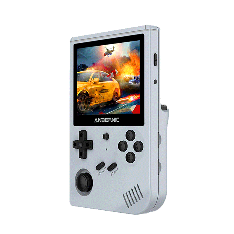 Anbernic RG351V 64GB Handheld Game Console, 3.5 Inch 640*480P IPS Screen, 12000 Games, Dual TF Card Slot, Supports NDS, N64, DC, PSP, PS1, openbor, CPS1, CPS2, FBA, NEOGEO, NEOGEOPOCKET, GBA, GBC, GB, SFC, FC, MD, SMS, MSX, PCE, WSC- Gray