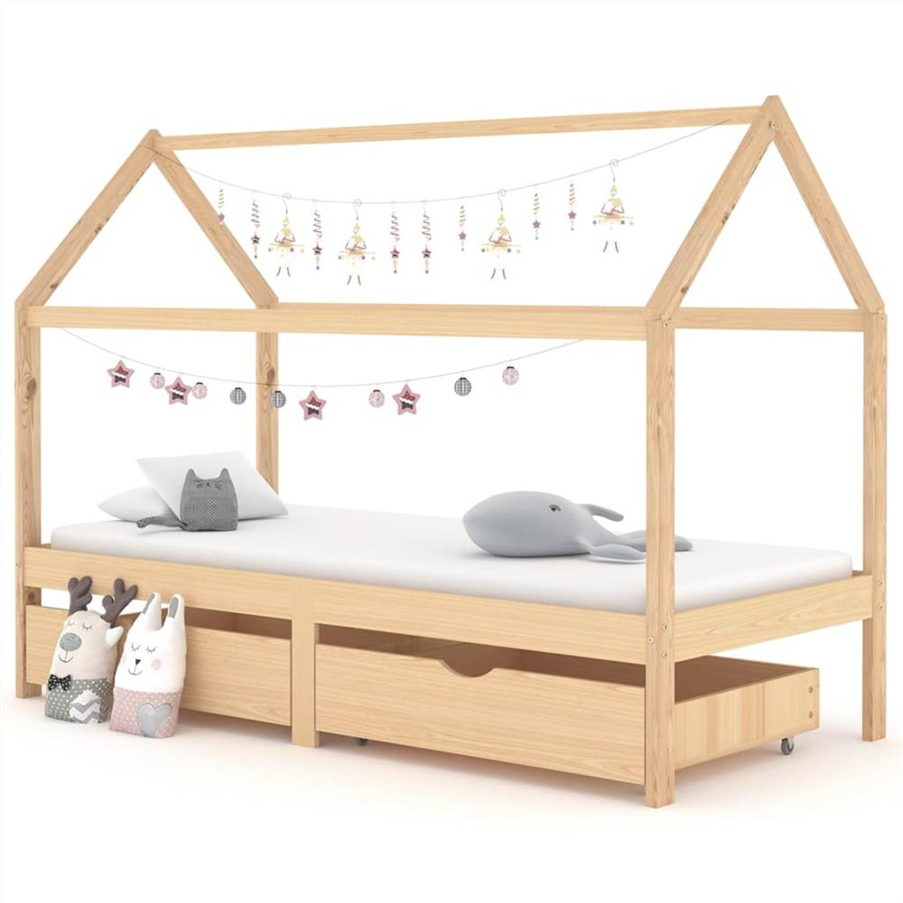 Kids Bed Frame with Drawers Solid Pine Wood 90x200 cm