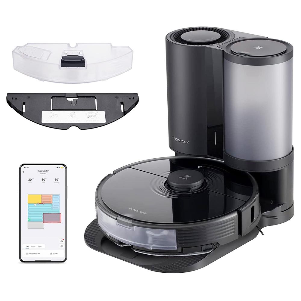 """שואב אבק רובוט S7 רובוט + ניקוי אוטומטי של המזח סוניק סמופ אוטומטי הרמת סמרטוט 2500Pa יניקה עוצמתית לזיהוי שטיח אולטרסאונד 5200mAh סוללה 470ml פח אשפה 300 מ""""ל מיכל מים בקרת אפליקציה - שחור"""