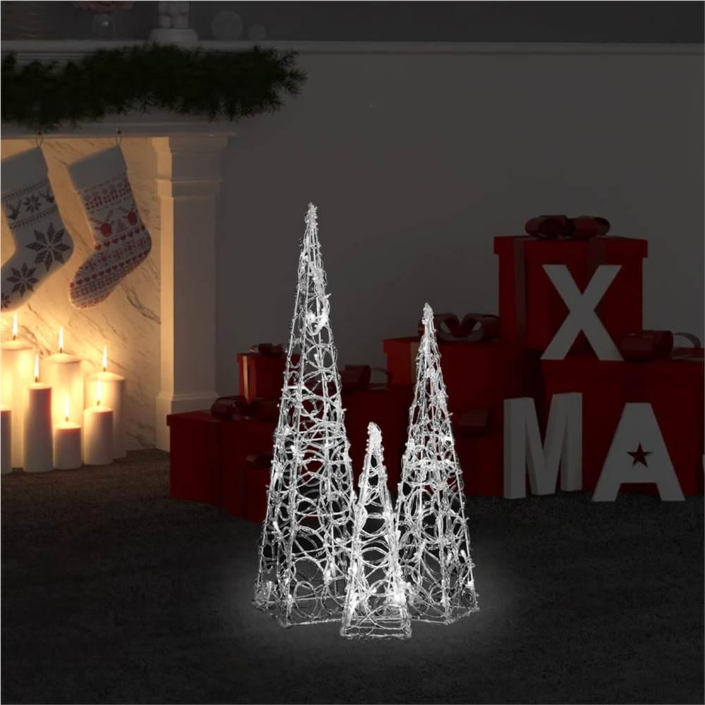 Set di coni di luce LED decorativi in acrilico bianco freddo 30/45/60 cm