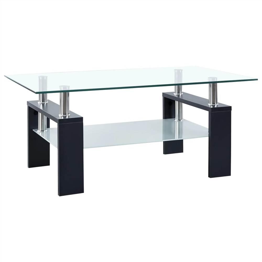 Tavolino Nero e Trasparente 95x55x40 cm Vetro Temperato