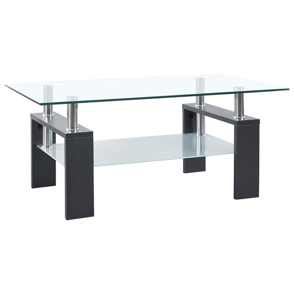 Mesa de centro cinza e vidro temperado transparente 95x55x40 cm