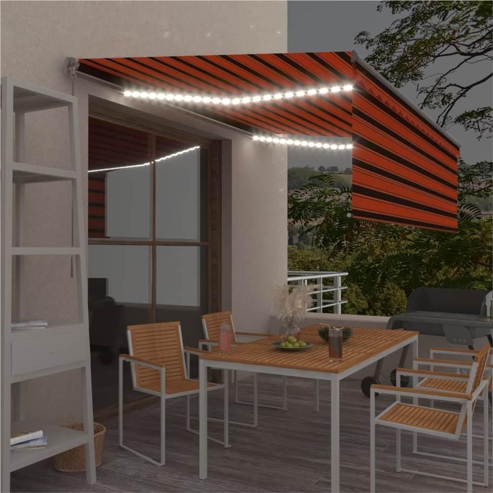 Χειροκίνητη αναδιπλούμενη τέντα με Blind & LED 4x3m Πορτοκαλί & Καφέ