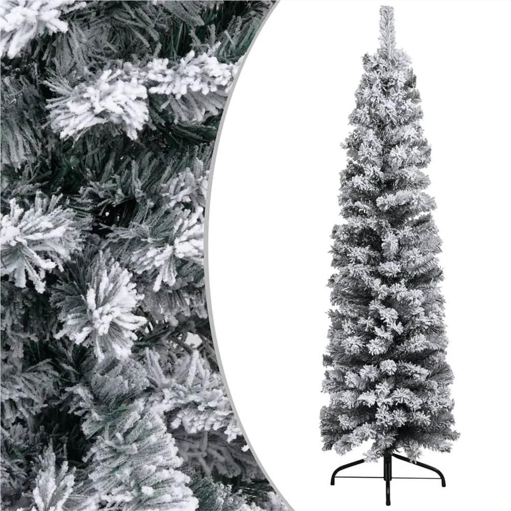 Árvore de Natal Artificial Slim com Flocked Snow Green 120 cm PVC