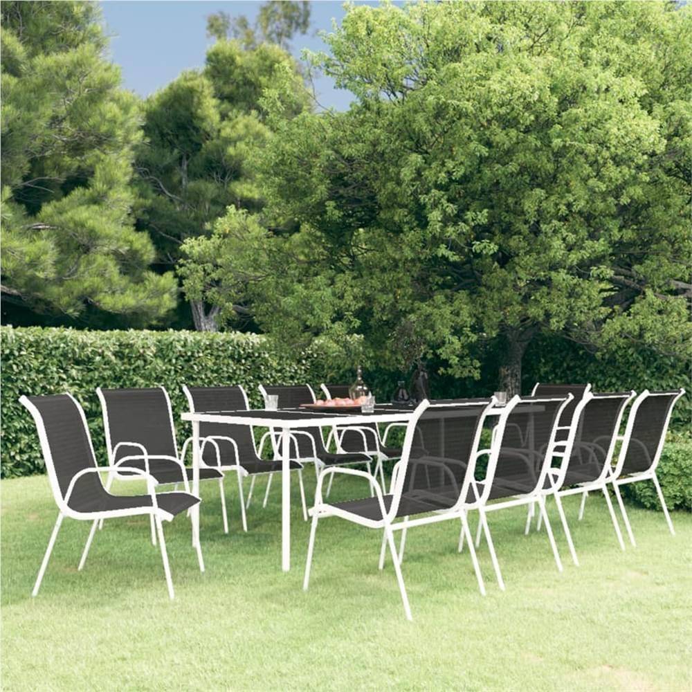 11 Piece Outdoor Dining Set Steel Black