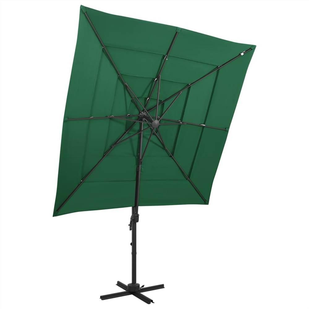 4-Tier Parasol with Aluminium Pole Green 250x250 cm