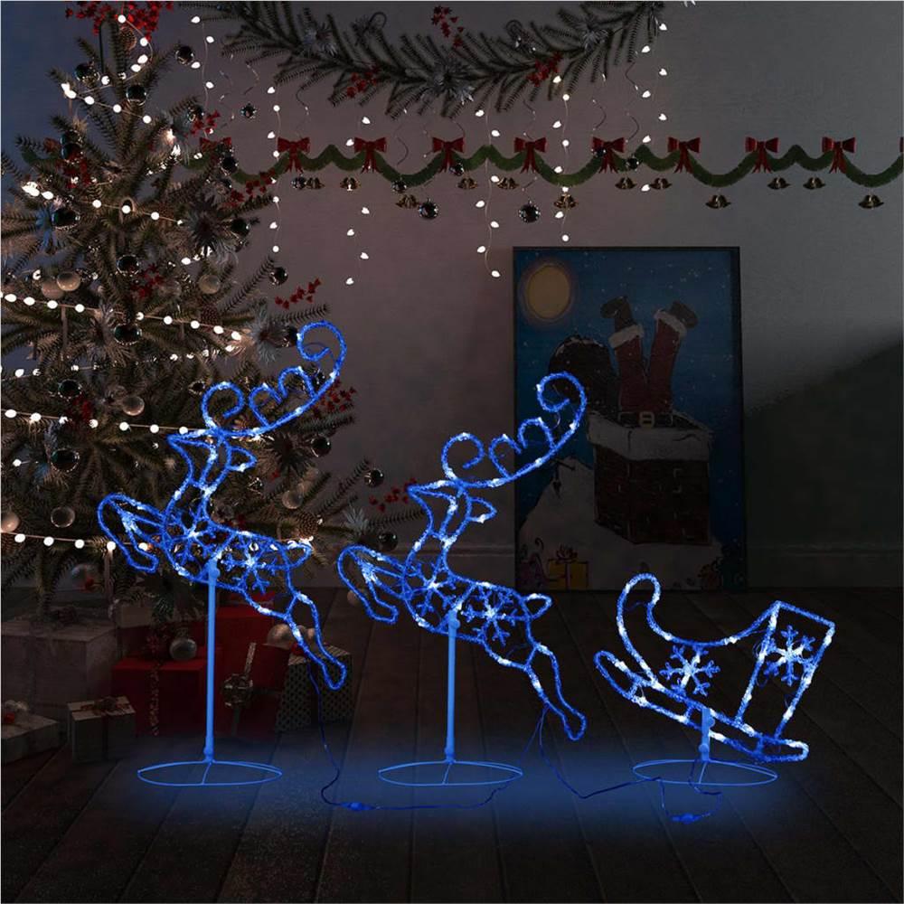 Acrylic Christmas Flying Reindeer&Sleigh 260x21x87cm Blue